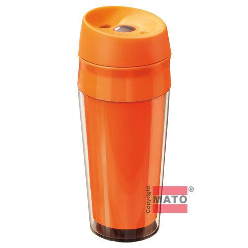 Kunststoff Reisetrinkbecher 0,4 l orange Deckel auslaufsicher Becher Trinkbecher