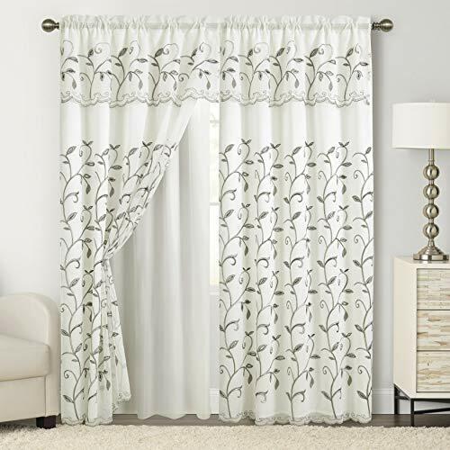 Cortinas Blancas Para Sala Elegantes Con Cenefas 54X84 Set 2 Paneles Modernas US