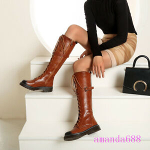 Womens Riding Boots Vintage Lace Up Knee High Motorcycle Boots Winter Shoes Size