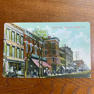 CENTRAL-AVE-JERSEY-CITY-HEIGHTS-N-J-Antique-Postcard-Brownstone-Stores-1909