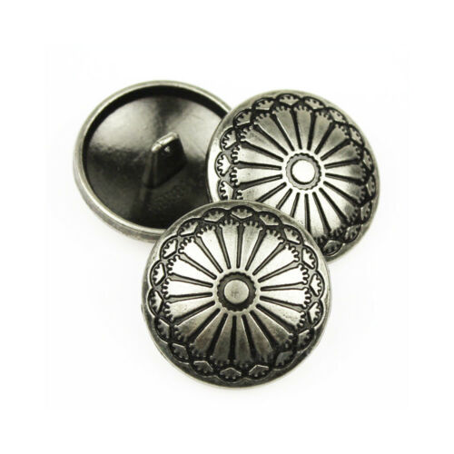 5PCS Silver Metal Round Sunflower Shank Button Sewing Craft DIY Coat 23MM//36L