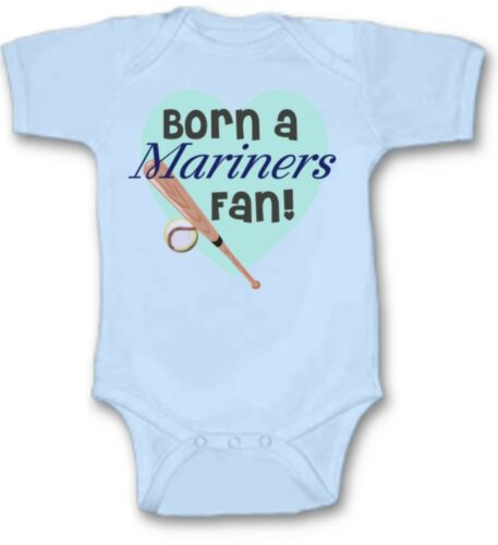 Born a Mariners Baseball Fan Baby Bodysuit Cute New Gift Choose Size /& Color