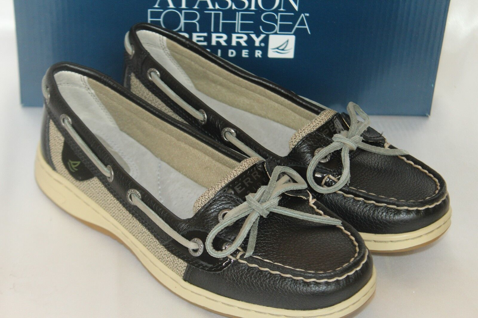NEW  NIB  Sperry Sperry Sperry Top Sider ANGELFISH Black Leather Linen Boat shoes Sz 6 364a2b