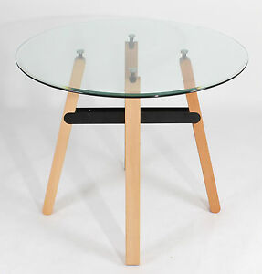 REBOXED Round Tempered Clear Glass Black DINING TABLE Wooden Legs Kitchen Roo