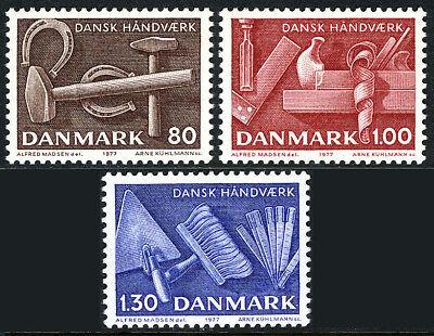 1977 Postfrisch Dänisch Basteln Realistisch Dänemark 606-608