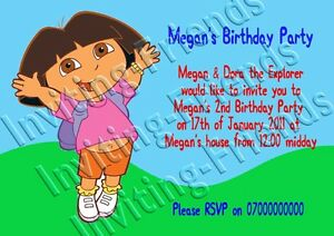 40 personalised childrens birthday invitations dora the explorer