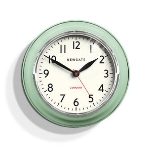 Details About Newgate Clocks Cookhouse Retro Kitchen Round Wall Clock Ogue Green 35cm