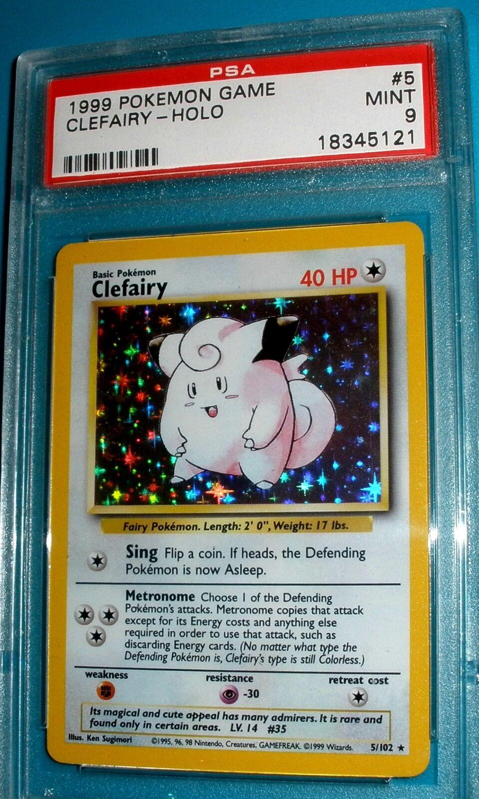 Pokémon - basis clefairy holo - psa - 9.