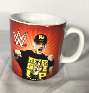 John Cena Large Red White Coffee Mug Cup Wwe Wrestling Never Give Up Collectible Ebay