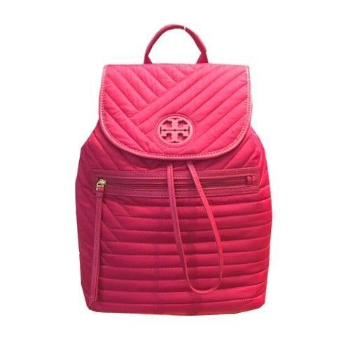 b4acde913dee Tory Burch Red Backpack Leather Quilted Nylon Bag Retail for sale online