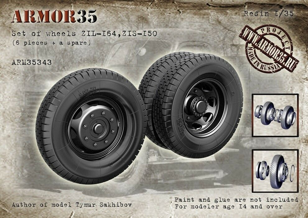 Armor35 1 35 ZiL-164, ZiS-150 Wheels Set (6pcs + 1 spare)