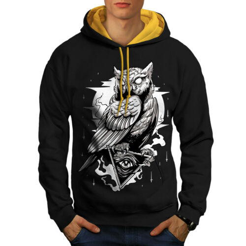 Conspiracy Casual Jumper Wellcoda Triangle Owl Mens Contrast Hoodie