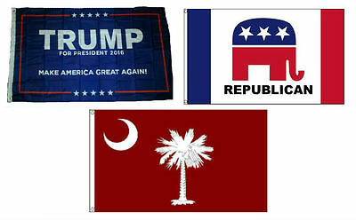 3x5 Trump #1 & Republican & State Of Sc Red Wholesale Set Flag 3'x5'