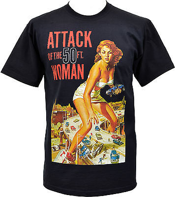 MENS BLACK T-SHIRT ATTACK OF THE 50FT WOMAN B-MOVIE VINTAGE HORROR S-5XL