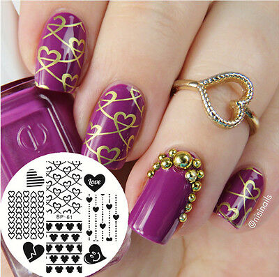1pc BORN PRETTY New Love Heart Nail Art Stamping Template Image Plate BP61