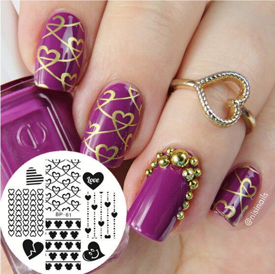 Born Pretty Nail Art Stamping Plate Pattern Love Heart Image ...