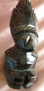 Statue / Sculpture / Statuette - Divinité aztèque Obsidienne Mexique Maya
