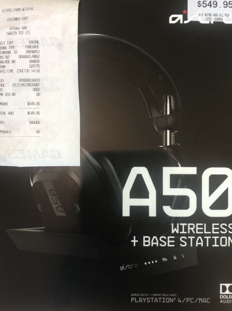 Astro A50 Wireless Gaming Headset - Black (PlayStation 4/PC/MAC)
