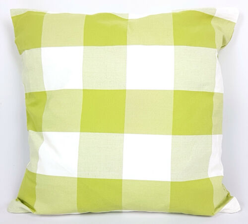 """Saybil Green and White Check Pattern Cushion Cover 18/"""" x 18/"""" 45cm x 45cm"""