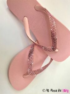 7ec3dbd71 Image is loading Havaianas-flip-flops-with-Swarovski-Crystal-rhinestone- Bling-