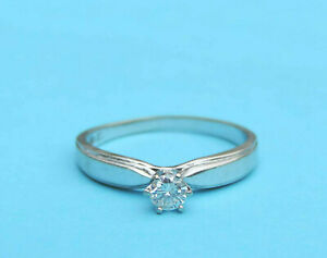 Ladies Genuine Round Diamond Solitaire Engagement Ring - 10 Karat White Gold