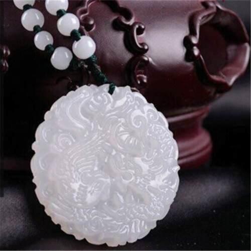 Natural Afghanistan White Jade Fashion Dragon et Phoenix jade Pendentif Bijoux