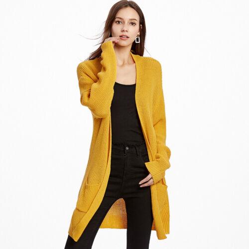 Women/'s Ladies Chunky Tricot Surdimensionné Long Manche Longue Pull Cardigan Top nouveau