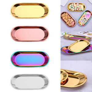 Stainless-Steel-Snack-Fruit-Tray-Jewelry-Cosmetics-Organizer-Holder-Plate-Dish