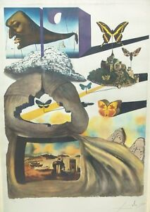 SALVADOR-DALI-HAND-SIGNED-LITHOGRAPH-NORMANDY-NORMANDIE-SNCF-FRENCH-RAILROAD