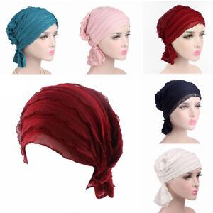 Women-039-s-Chiffon-Ruffle-Cancer-Chemo-Cap-Turban-Beanie-Hat-Head-Wrap-Scarf-US-Hot
