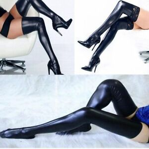 d4974e67b127f Womens Ladies Sexy PU Leather Over Knee Long Thigh High Stockings ...