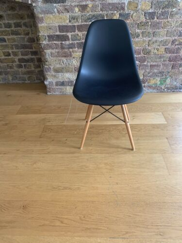 Eames Vitra DSW Chair Black With Wood Legs Used