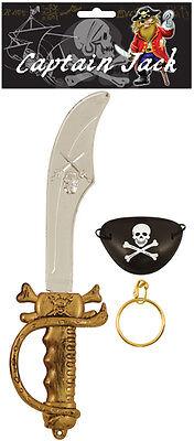 Kids Pirate SWORD EARRING /& EYEPATCH Fancy Dress Set Cutlass Eye Patch Party Toy