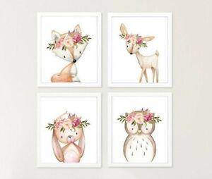 4-Boho-Woodland-Animaux-Nursery-IMPRIME-LAPIN-Cerf-Renard-Hibou-mur-floral-art-610-A