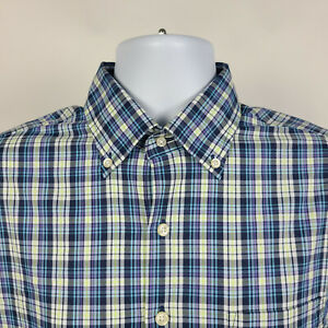 Peter Millar Blue Purple Green Check Plaid Mens Dress Button Shirt Size Medium M