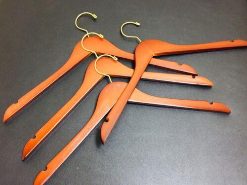 "17/"" Flat Teak color Wooden Hanger w// brass Hook  100 PCs lot"