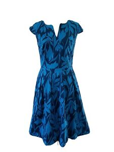 Target-Fit-amp-Flare-Dress-Size-8-Blue-Floral-Cap-Sleeve-Pockets-Lined-Corporate