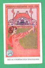 RARE 1898 WIEN JUBILEE EXHIBITION ARTIST SIGNED POSTCARD HAUPT RESTAURANT LADY
