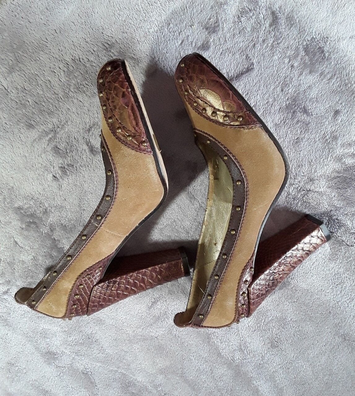 Sam Edelman Womens Square Heel Brown Sued Studded Snake Skin Round Toe Shoes 8
