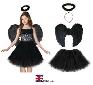 Costume Halloween Uk.Details About Dark Angel Fairy Costume Feather Girls Halloween Fancy Dress Outfit Party Lot Uk