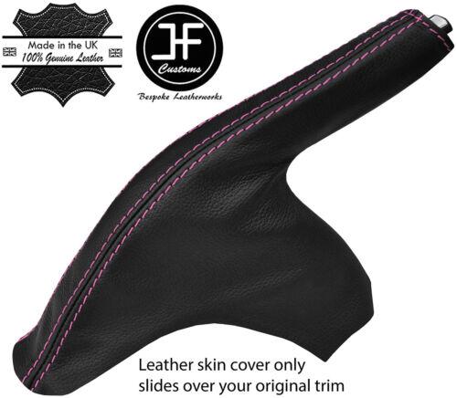 Pink Stitch Cuir Véritable Slim Frein à Main Gaiter Cover pour Ford Fiesta MK7 08-13