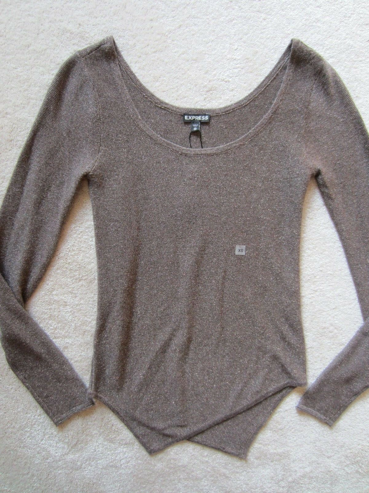WOMENS EXPRESS ASSYMETRICAL BROWN METALLIC SPARKLE SWEATER KNIT TOP XSMALL XS