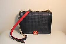 CHANEL Large Maxi Cube Le Boy - Navy/Red with Gold Hardware