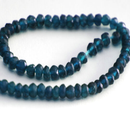 3.5 MM HALF STRAND TOP QUALITY NATURAL DARK BLUE APATITE FACETED RONDELLE BEADS