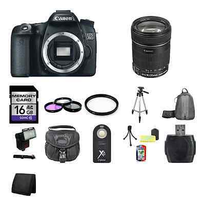 Canon EOS 70D SLR Camera w/18-135mm Lens 16GB Full Kit