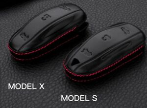 For Tesla Model S//X Fob Cove Pocket Cover Holder 4D Genuine Leather Key Fob