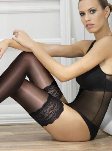 Andrea Bucci 10 denier Silk satin sheen Lace Top Hold up