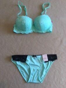 Candies *Bra Set** Deep Blue Balconette Push Up 36B /& Large Bikini Panty