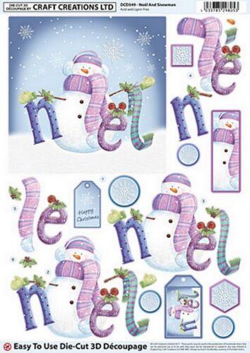 ** ** Noel y Muñeco de nieve A4 Hermosa Die Cut Decoupage