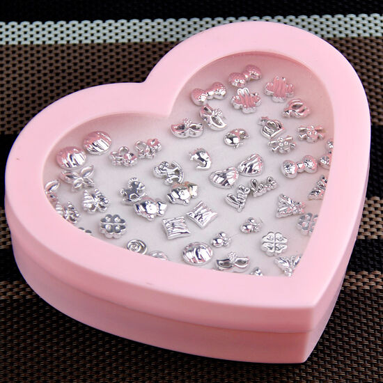 24 pairs fashion Mixed style silver tone earrings with heart box ED402